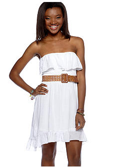A Byer Strapless Gauze Ruffle Dress