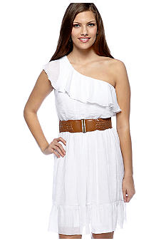 A Byer Ruffle Gauze One Shoulder Dress