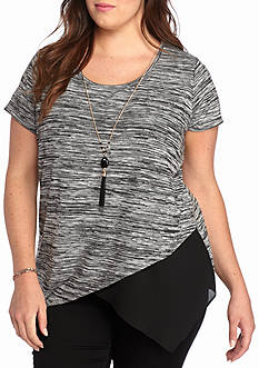 A. Byer Plus Size Asymmetrical Necklace Tee
