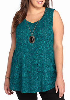 A. Byer Plus Size Rib Swing Necklace Tank