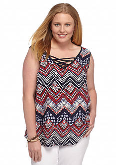 A. Byer Plus Size Printed Lace-Up Tank