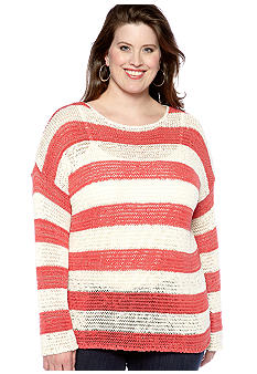 Jones New York Sport Plus Size Long Sleeve Drop Shoulder Sweater