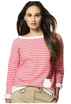 Jones New York Sport Boat Neck Stripe Top with Roll Tab Sleeves