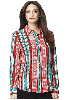 Jones New York Sport Printed Button Down Blouse with Roll Sleeves