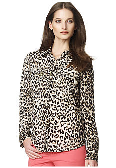 Jones New York Sport Leopard Print Utility Shirt