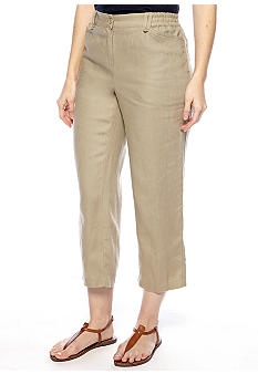 Jones New York Sport Petite Flat Front Linen Pant