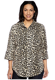 Jones New York Sport Plus Size Animal Print Shirt