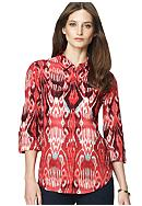 Jones New York Sport Ikat Print Button Down Linen Blouse with Roll Sleeves