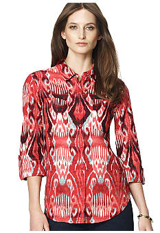 Jones New York Sport Petite Ikat Print Button Down Blouse with Roll Sleeves