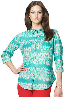 Jones New York Sport Printed Button Down Linen Blouse with Roll Sleeves