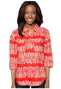 Jones New York Sport Petite Printed Button Down Blouse with Roll Sleeves