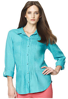 Jones New York Sport Button Down Linen Blouse with Pintuck Pleats
