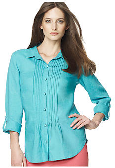 Jones New York Sport Petite Button Down Blouse with Pintuck Pleats