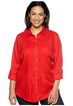Jones New York Sport Plus Size Pleated Roll Cuff Shirt