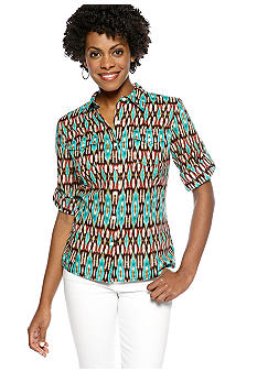 Jones New York Sport Fitted Roll Sleeve Blouse