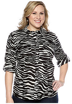 Jones New York Sport Plus Size Zebra Print Long Sleeve Shirt