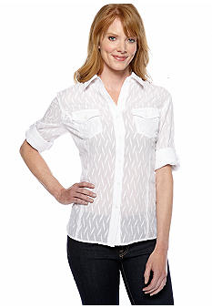 Jones New York Sport Fitted Blouse with Pockets