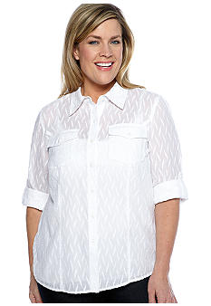 Jones New York Sport Plus Size Fitted Blouse With Pockets