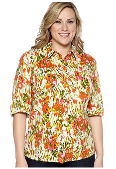 Jones New York Sport Plus Size Fitted Roll Sleeve Shirt