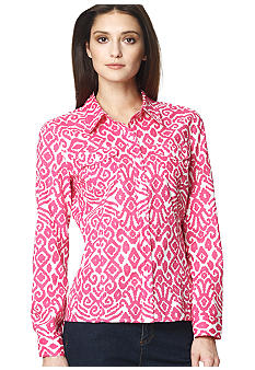 Jones New York Sport Printed Button Down Blouse