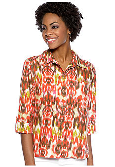 Jones New York Sport 3/4 Sleeve Printed Linen Button Down Blouse