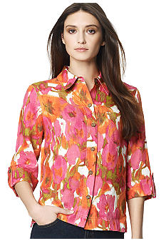 Jones New York Sport Petite Floral Print Blouse with Roll Sleeves