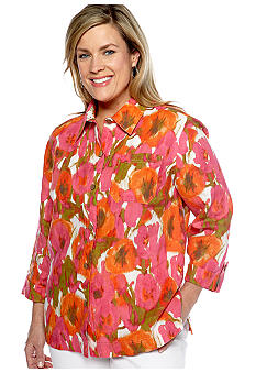 Jones New York Sport Plus Size Three-Quarter Length Cuffed Sleeve Shirt