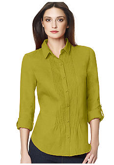 Jones New York Sport Micro Pleated Button Down Blouse