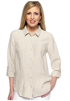 Jones New York Sport Button Front Linen Shirt With Pleats