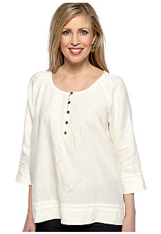 Jones New York Sport Petite Pleated Linen Blouse
