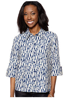 Jones New York Sport Petite Three-Quarter Faux Roll Sleeve Shirt