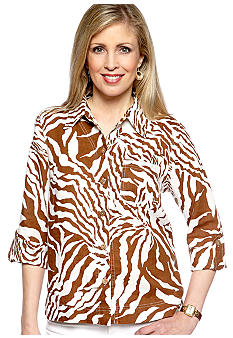Jones New York Sport Plus Size Faux Roll Sleeve Shirt
