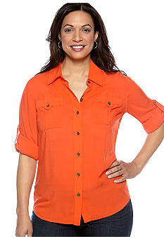 Jones New York Sport Plus Size Utility Roll Sleeve Shirt