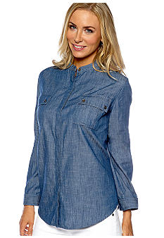 Jones New York Sport Petite Banded Collar Chambray Shirt