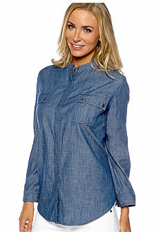 Jones New York Sport Plus Size Banded Collar Chambray Shirt
