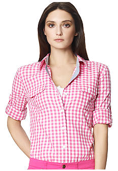 Jones New York Sport Roll Sleeve Checkered Shirt