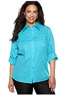 Jones New York Sport Plus Size Roll Sleeve Shirt