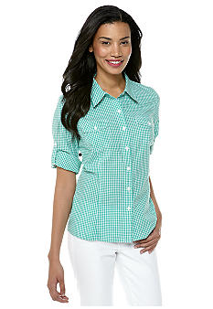 Jones New York Sport Gingham Check Woven Shirt