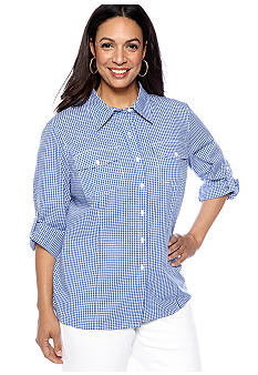Jones New York Sport Plus Size Gingham Check Shirt