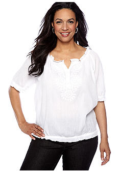 Jones New York Sport Plus Size Raglan Top With Embroidery