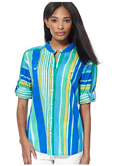 Jones New York Sport Button Front Striped Shirt