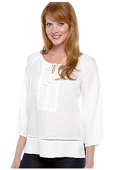 Jones New York Sport Petite Crochet Trim Linen Tunic Top