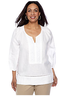 Jones New York Collection Plus Size Tunic With Crochet Trim