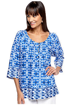 Jones New York Sport Print Mix Raglan Linen Blouse