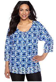 Jones New York Sport Plus Size Printed Linen Tunic