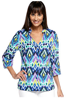 Jones New York Sport Split Neck Print Linen Blouse