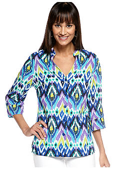 Jones New York Sport Petite Split Neck Print Linen Blouse