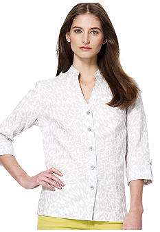 Jones New York Sport Linen Button Front Tunic