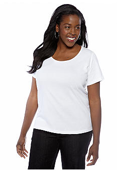 Jones New York Sport Plus Size Solid Scoopneck Tee