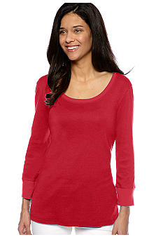 Jones New York Sport Petite Three Quarter Sleeve Scoop Neck Top